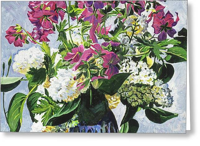 Blue Vase Arrangement Greeting Card by David Lloyd Glover