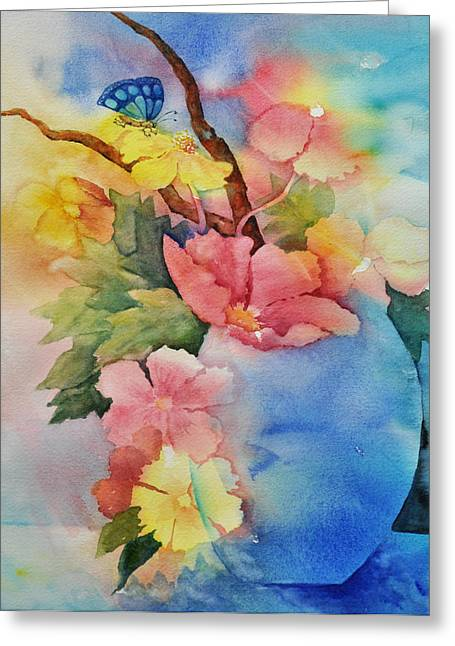 Blue Vase Bouquet Greeting Card