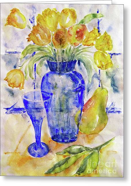 Greeting Card featuring the painting Blue Vase by Jasna Dragun
