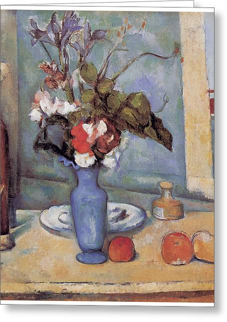 Blue Vase Greeting Card by Paul Cezanne