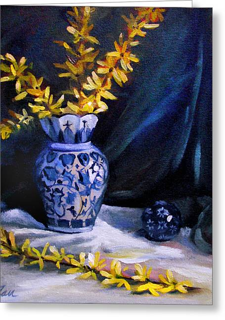 Blue Vase With Forsythia  Greeting Card