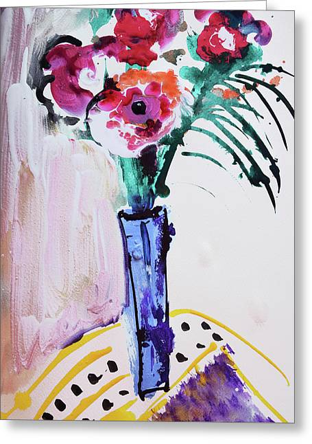 Blue Vase With Red Wild Flowers Greeting Card