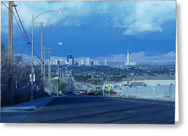 Blue Vegas Greeting Card