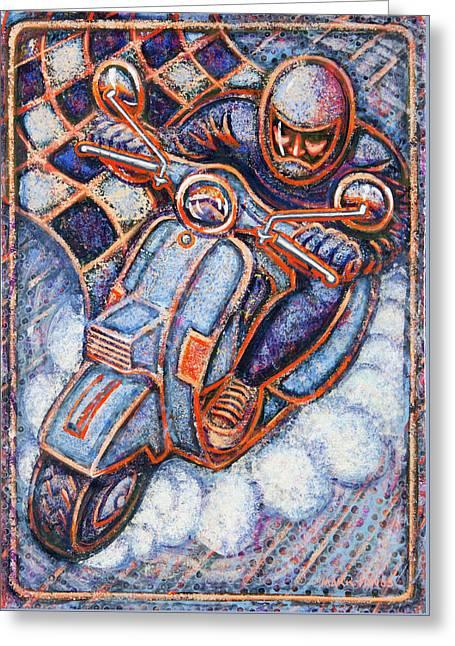 Blue Vespa Greeting Card