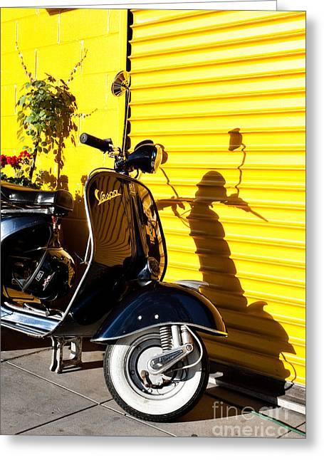 Blue Vespa Greeting Card by Sonny Marcyan