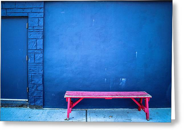 Blue Wall Pink Bench Greeting Card by Colleen Kammerer