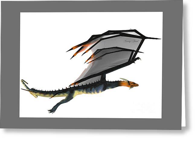 Blue Wasp Dragon Greeting Card by Corey Ford