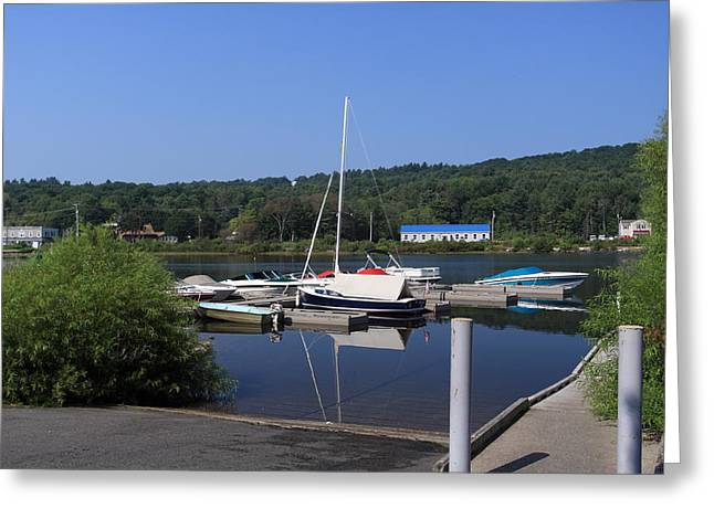 Maine Landscape Mixed Media Greeting Cards - Blue water boats Greeting Card by Lewis Journeyman
