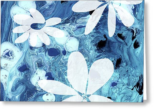 Blue Water Flowers- Art By Linda Woods Greeting Card
