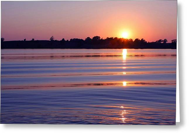 Blue Water Sunset Greeting Card by Jim  Darnall