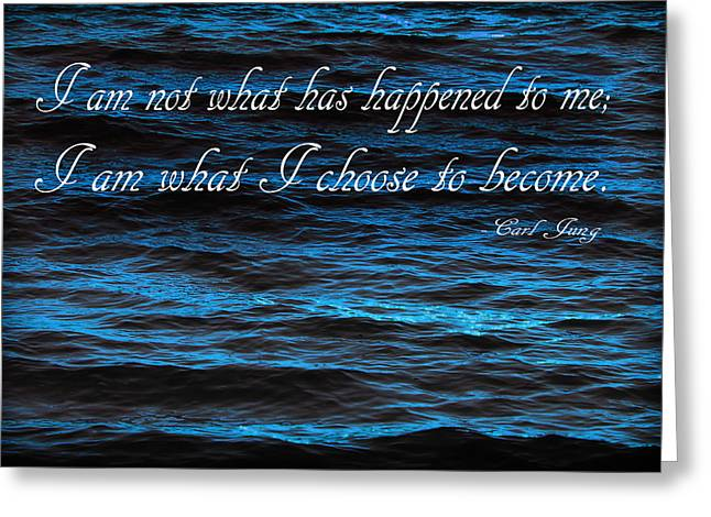 Blue Water With Inspirational Text Greeting Card by Donald  Erickson