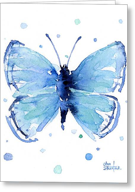 Blue Watercolor Butterfly Greeting Card