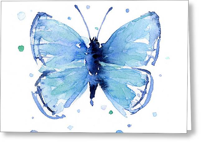Blue Watercolor Butterfly Greeting Card by Olga Shvartsur