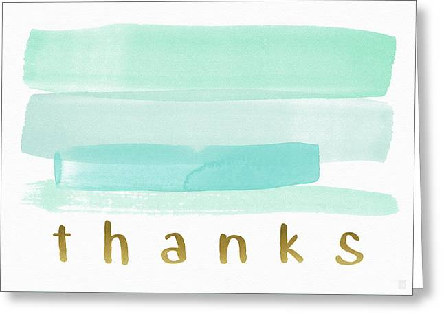 Blue Watercolor Stripe Thank You- Art By Linda Woods Greeting Card by Linda Woods