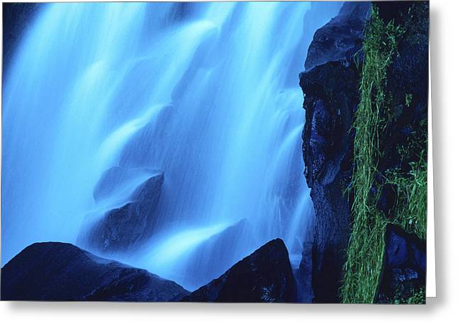 Cooling Greeting Cards - Blue waterfall Greeting Card by Bernard Jaubert