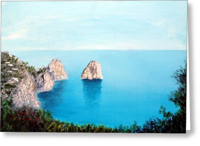 Larry Cirigliano Greeting Cards - Blue Waters Of Capri  Greeting Card by Larry Cirigliano