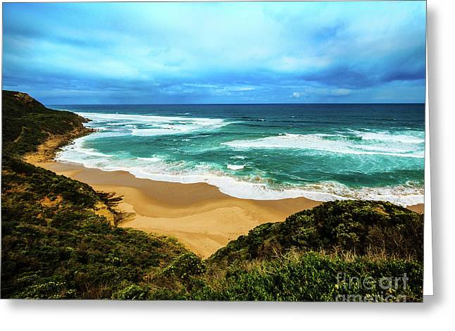 Greeting Card featuring the photograph Blue Wave Beach by Perry Webster