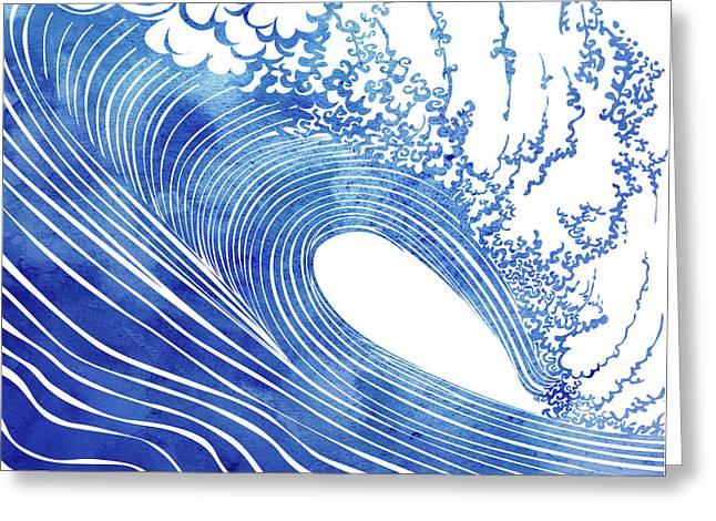 Blue Wave Greeting Card by Stevyn Llewellyn