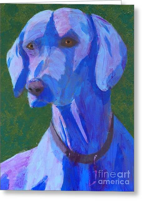 Greeting Card featuring the painting Blue Weimaraner by Donald J Ryker III