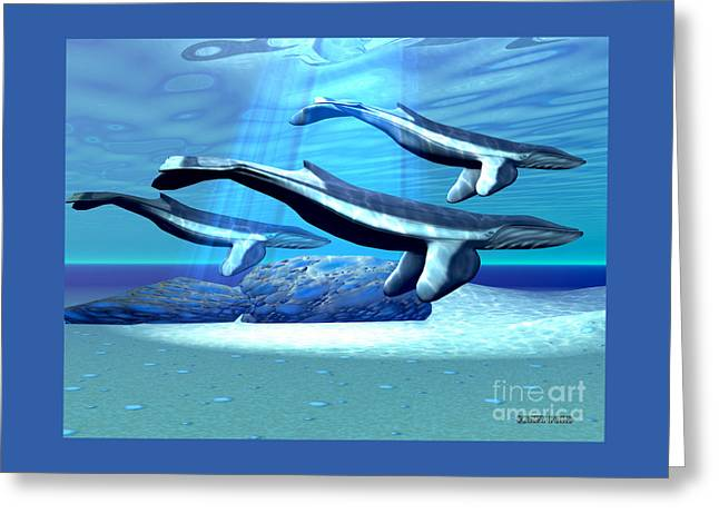 Blue Whale Sanctuary Greeting Card by Corey Ford