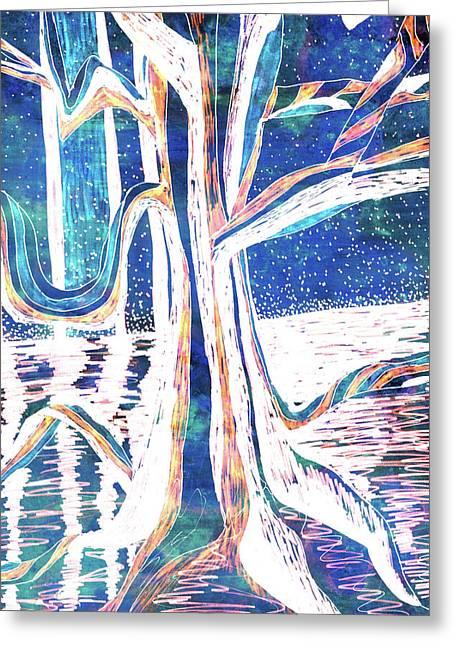 Blue-white Full Moon River Tree Greeting Card