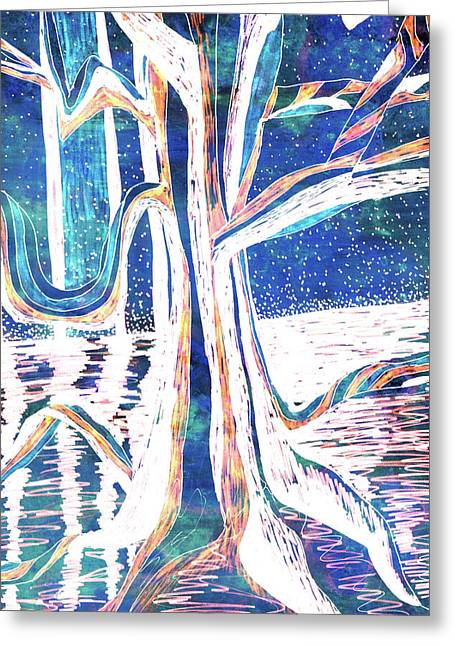 Blue-white Full Moon River Tree Greeting Card