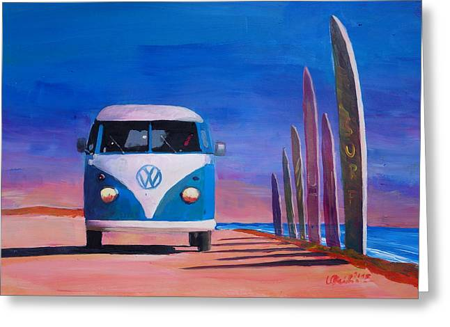 Blue White Vw Surf Bus T1 Kombie Bulli Surf Board Greeting Card by M Bleichner