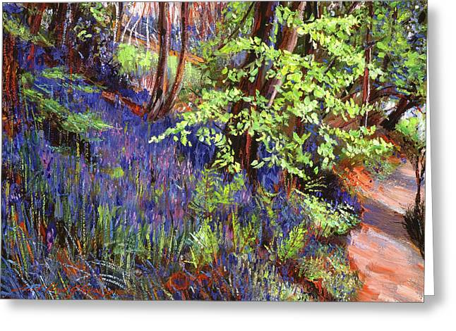 Blue Wildflowers Pathway Greeting Card by David Lloyd Glover