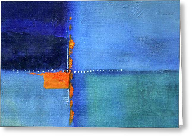 Greeting Card featuring the painting Blue Window Abstract by Nancy Merkle