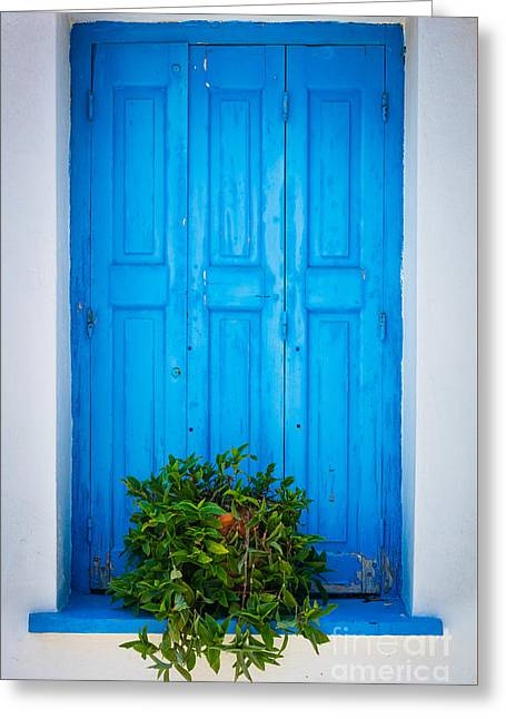 Cyclades Greeting Cards - Blue Window Greeting Card by Inge Johnsson