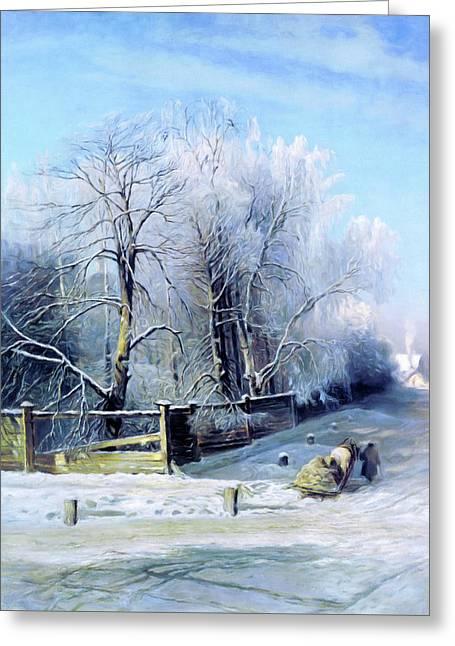 Blue Winter Days Greeting Card