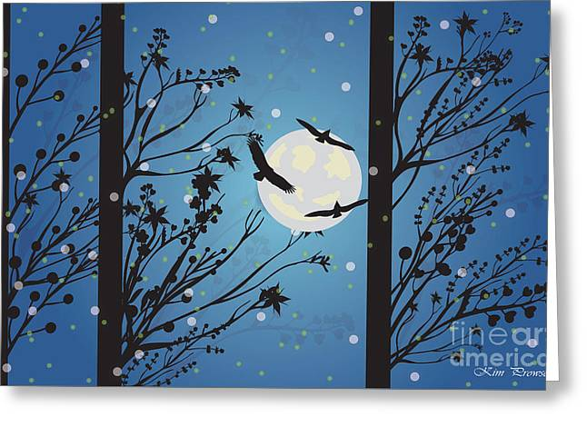 Greeting Card featuring the digital art Blue Winter Moon by Kim Prowse