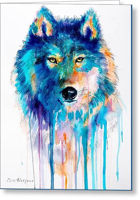 Blue Wolf Greeting Card by Slavi Aladjova