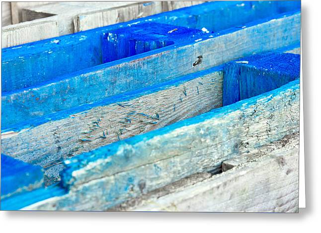 Blue Wooden Crates Greeting Card
