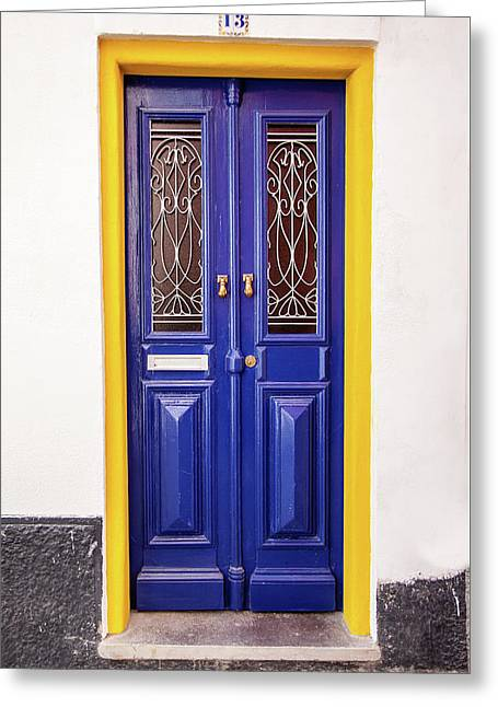 Blue Yellow Door Greeting Card