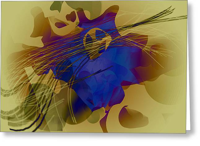 Blue Yellow Light Waves Pattern  Greeting Card