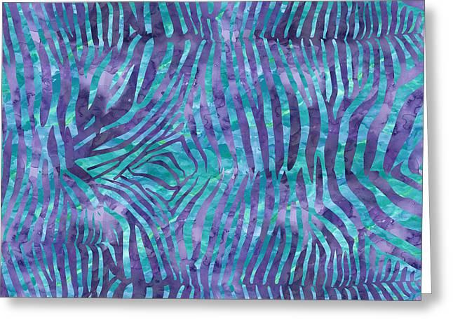 Blue Zebra Print Greeting Card