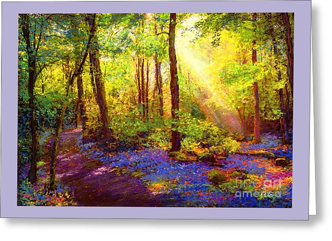 Greeting Card featuring the painting Bluebell Blessing by Jane Small