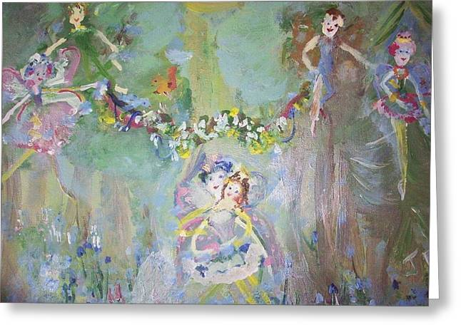 Greeting Card featuring the painting Bluebell Fairies by Judith Desrosiers
