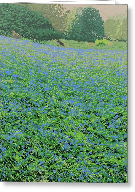 Bluebell Hill Greeting Card by Malcolm Warrilow