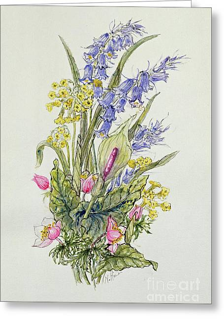 Bluebell Posy With Cowslips, Dogroses And Lily Greeting Card by Nell Hill
