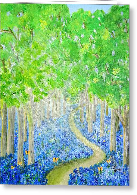 Bluebell Wood With Butterflies Greeting Card