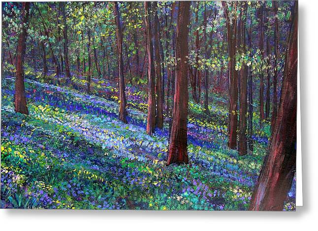 Bluebell Woods Greeting Card by Li Newton