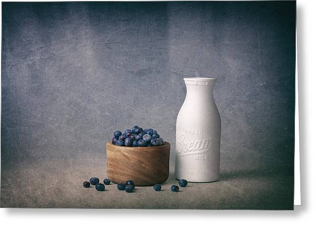Blueberries And Cream Greeting Card by Tom Mc Nemar