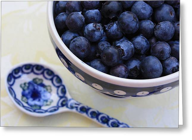 Blue Bowl Greeting Cards - Blueberries and Spoon  Greeting Card by Carol Groenen