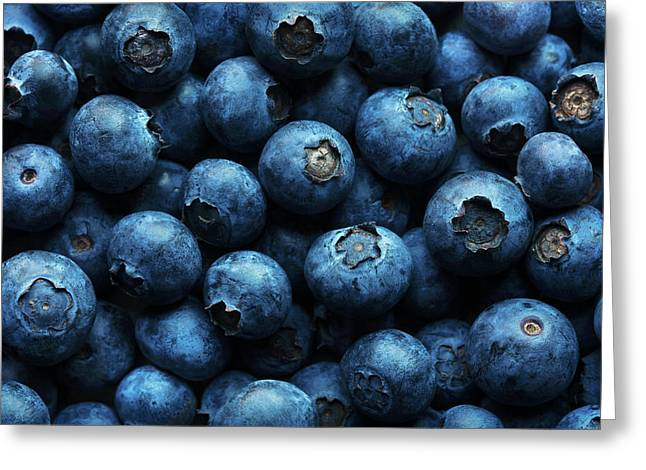 Blueberries Background Close-up Greeting Card