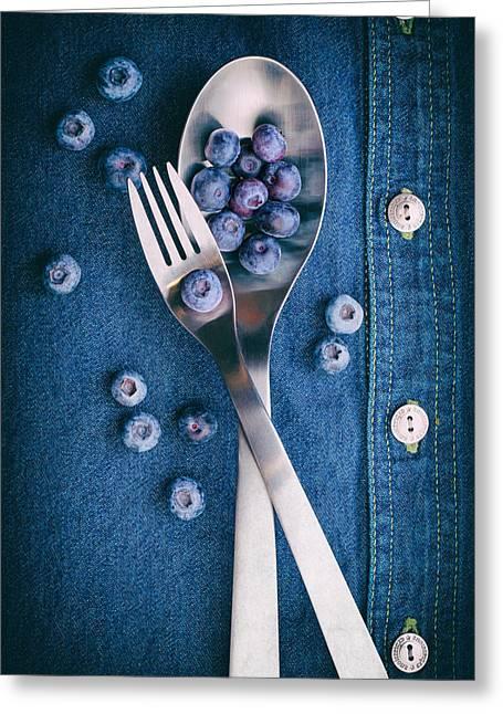 Blueberries On Denim II Greeting Card