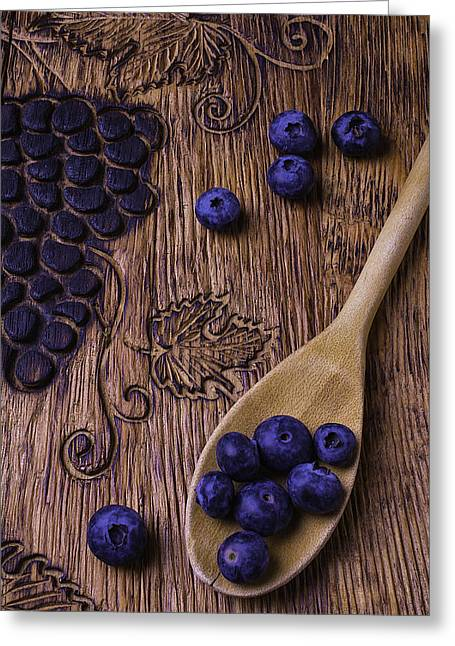 Blueberries With Carvings  Greeting Card