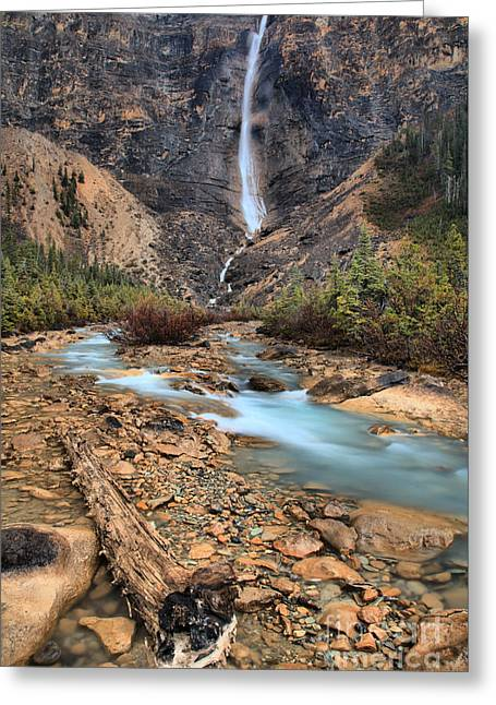 Greeting Card featuring the photograph Blueberry Blue Waters Under Takakkaw Falls by Adam Jewell