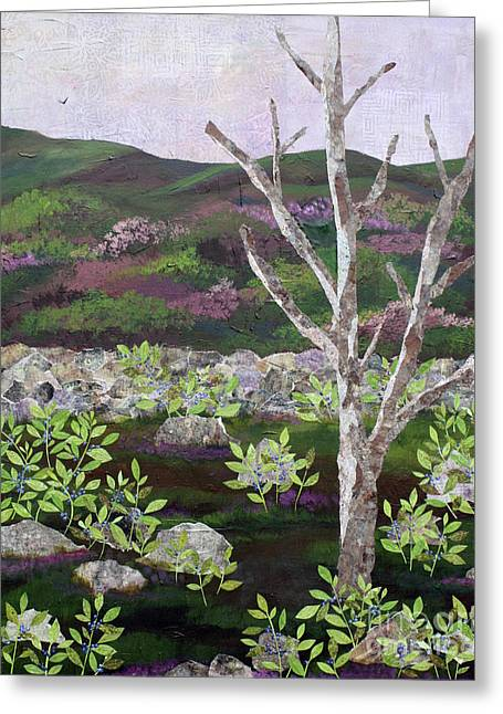 Blueberry Field And Tree 2 Greeting Card